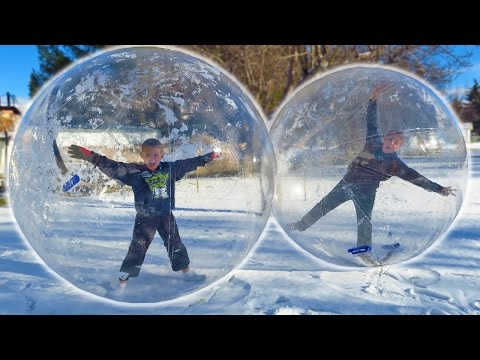 GIANT SNOW GLOBE BUBBLE BALLS!