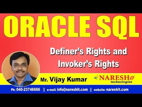 Definer's Rights and Invoker's Rights in PL/SQL   Oracle PL/SQL Tutorial Videos   Mr.Vijay Kumar