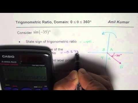 How to evaluate sine minus 35 an find equivalant trigonometric ratio