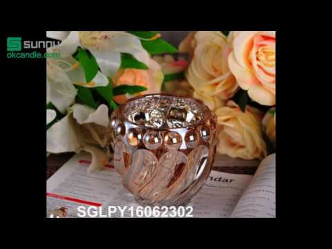 Round Glass Candle Holders with spraying and electroplating decoration