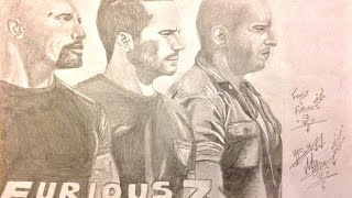 Fast and Furious 7 Poster Drawing
