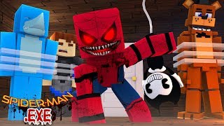 SPIDERMAN .EXE HAS CAPTURED FNAF FREDDY AND THE NEIGHBOUR !!! Minecraft w/ Sharky and Scuba Stevev