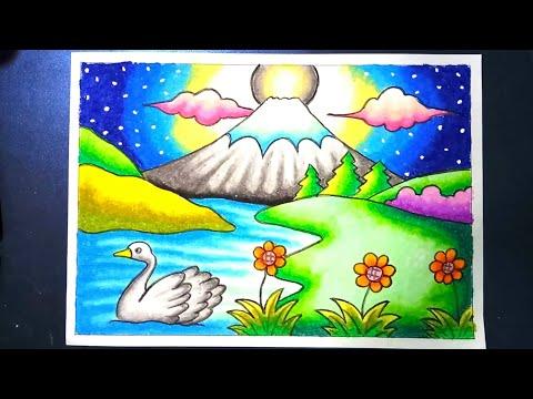 Menggambar Dan Mewarnai Pemandangan Alam Gunung Fu L9cddtdfww