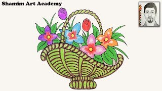 How To Draw Flower Basket Step By Step Very Easy Drawing