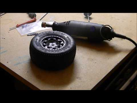 How to sand off pins on shortcoures tires for carpet racing