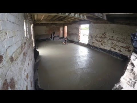 laying a concrete floor in a barn conversion