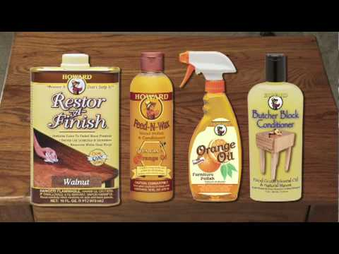 Howard Products Demonstration: Restor-A-Finish, Feed-N-Wax, Orange Oil and Butcher Block Conditioner