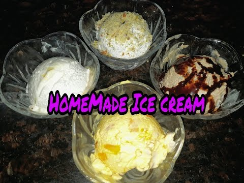 4 Flavoured Homemade ice cream with only 3 ingredients recipe in hindi