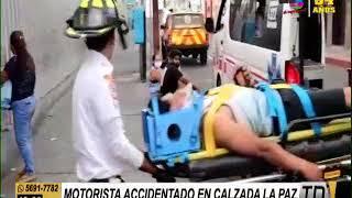 Motorista accidentado en la Calzada La Paz
