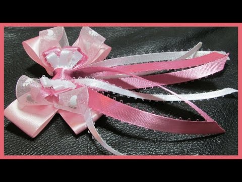 DIY - How to make Hair Bows No.3 - Long tailed stacked Hair Bow - Free tutorial with subtitles