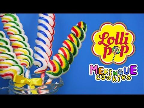 Rainbow Lollipop meringue cookies, 알록달록♥ 롤리팝 머랭쿠키 만들기! - 더스쿱
