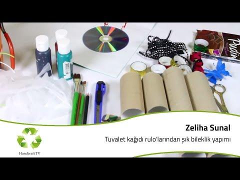 Tuvalet Kağıdı Rulolarından Şık Bileklik Yapımı / How to make a bracelet from a toilet paper roll?