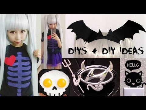 Halloween DIYs:DIY Pastel Skeleton Costume+Bat Headband+3 DIY Ideas: Evil Car logo+Skull Egg