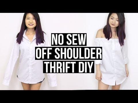 THRIFT DIY | NO SEW OFF SHOULDER DRESS W/ MENS DRESS SHIRT | Eva Chung