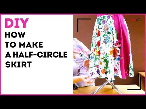 DIY: How to make a half-circle skirt. Pattern for a half-circle skirt in 5 minutes. Sewing tutorial.