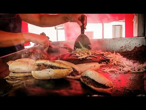 AMAZING Tacos And Tortas - BEST Mexican Street Food!!! - BARBACOA Torta