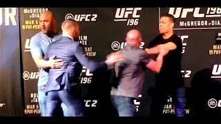 Conor Mcgregor And Nate Diaz Scuffle At Ufc 196 Face-offs