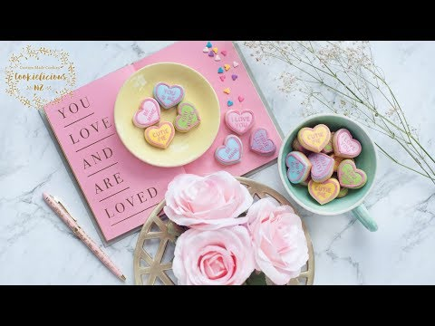 VALENTINE'S DAY COOKIES - How to make MINI CONVERSATION HEART SUGAR COOKIES