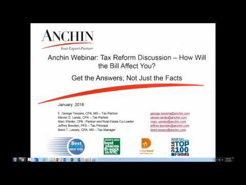 Anchin Webinar: How Will the Bill Affect You? Get the Answers; Not Just the Facts