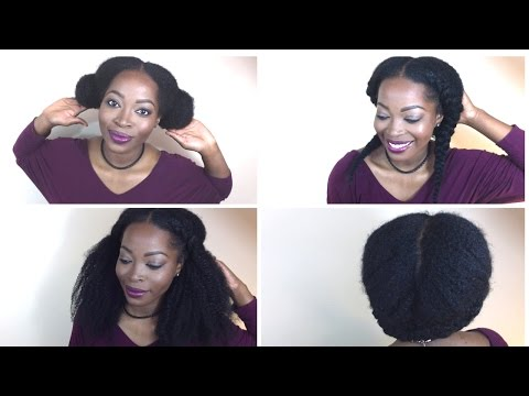 4 WAYS TO STYLE Kinky Curly CLIP INS with natural hair: Inspired by Vixen Sew-in   HERGIVENHAIR