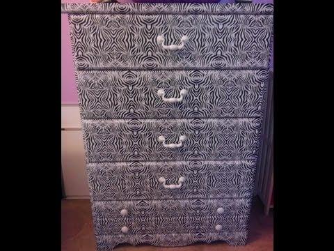 DIY: ZEBRA print on laminate wood Dresser (NO PAINTING required) Under $10!