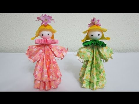 TUTORIAL - How to make 3D Paper Doll - Petite Flower Girls (3D 纸娃娃)