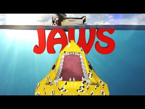 Minecraft   LUCKY BLOCK BOSS CHALLENGE - JAWS SHARK ATTACK! (Sharks, Great White Shark)
