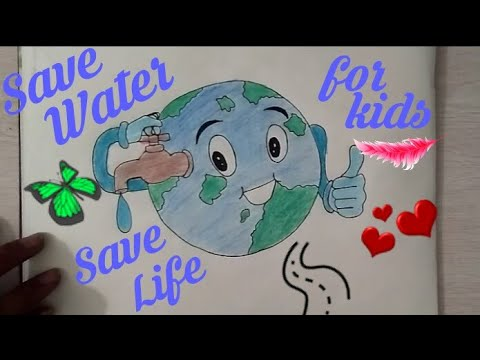 How to draw SAVE WATER SAVE EARTH Drawing For Kids || SAVE FUTURE Coloring drawing ||
