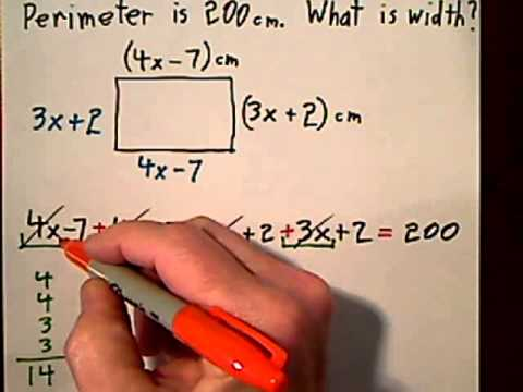 HW 018 U2 3.2 Find Width Given Perimeter of Rectangle