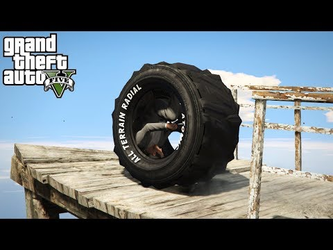 DRIVING A TIRE?! EPIC STUNTS AND OFF-ROADING! (GTA 5 PC Mods)