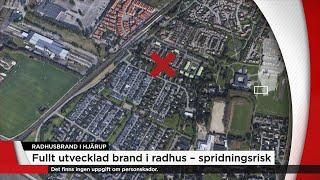 Fullt utvecklad brand i radhus i Skåne – spridningsrisk - Nyheterna (TV4)