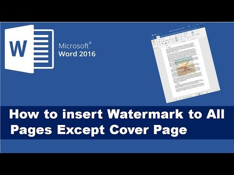 How to exclude Watermark from First Page in Word 2016 Document