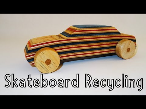 Wooden toys for charity - Racecar made from Recycled Skateboards | How To Woodworking
