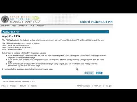 Creating PIN for FAFSA - Spa Tech Financial Aid Tutorial