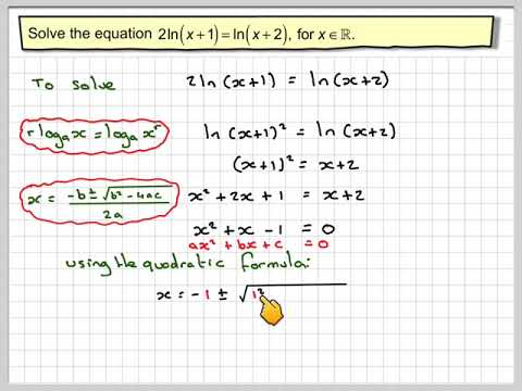 Solving a logarithmic equation leading to a quadratic