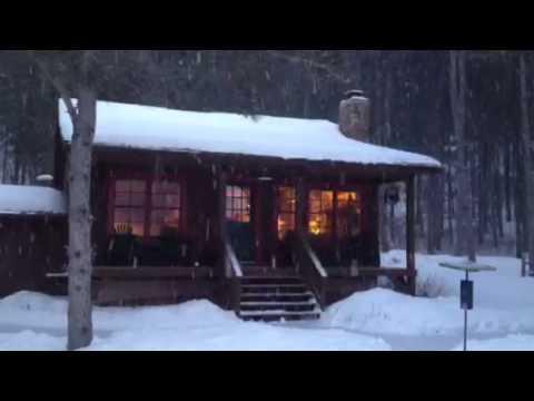 Winter snowfall at the cabin.