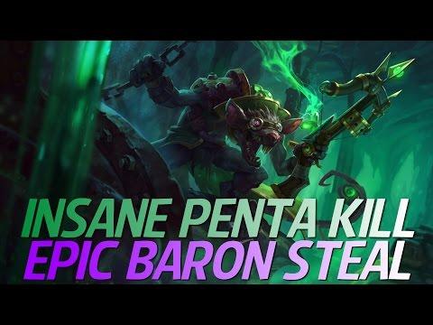 EPIC PENTA KILL BARON STEAL TWITCH JUNGLE /w VESUVIA!