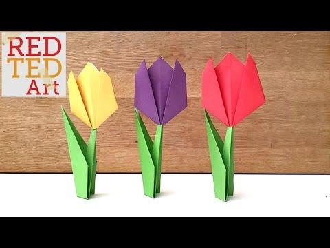 Easy Paper Tulip Origami Flower