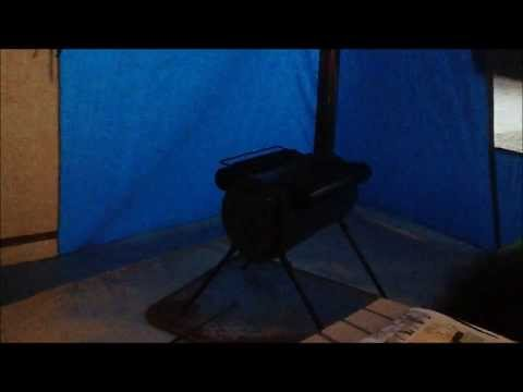 First overnighter in a canvas tent with wood burning stove