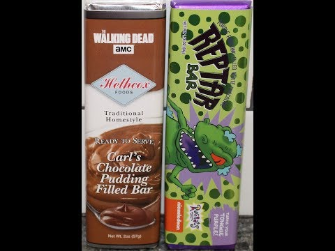 AMC The Walking Dead Carl's Chocolate Pudding Filled Bar & White Chocolate Reptar Bar Review