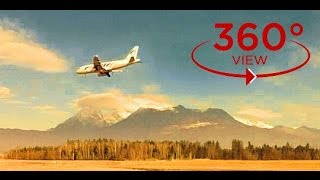 360 VR VIDEO TRAVEL - spectacular airplane landing at beautiful  sunset (360 degree video vr)