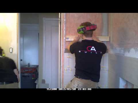 12x24 Tile Linear style bathroom reno [Timelapse]