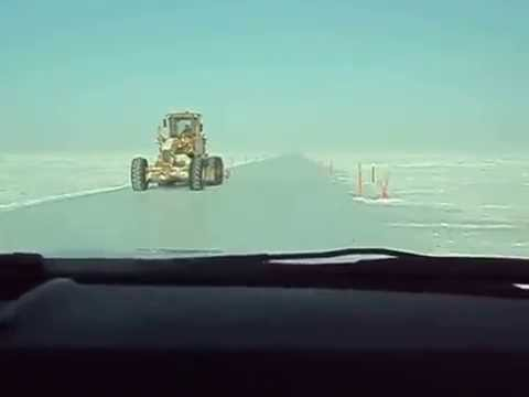Driving on an Ice Road near the Northern Tip of Alaska