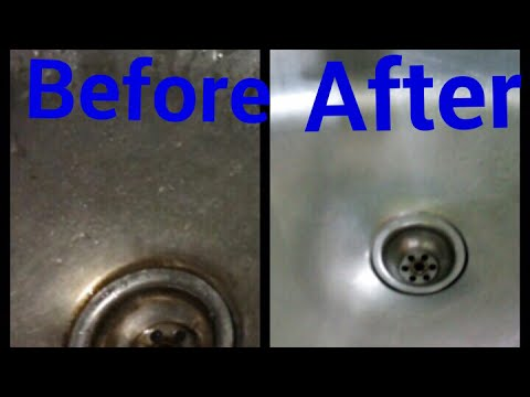 Remove blockage in steel sink | steel sink cleaning tip | Make kitchen sink shine