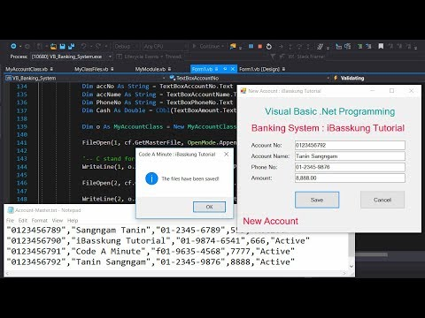 VB.Net 2017 (P1) How to Create a Banking System using Class and text files to store records with OOP