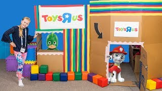 Paw Patrol and PJ Masks Toys at the Toys R Us Ultimate Box Fort with the Assistant
