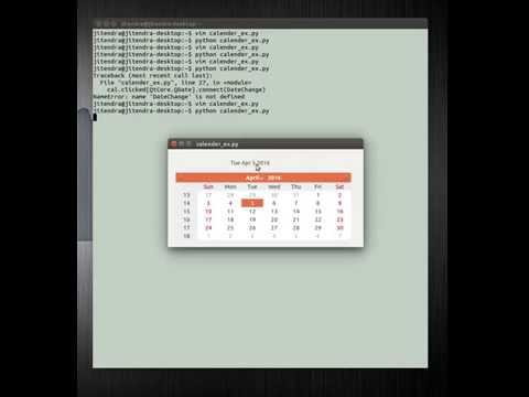 PyQt4, QCalender & QLabel Example  in ubuntu