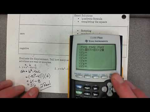 Unit #4 Section 5-8 Determine Number and Type of Solutions using the discriminant.wmv