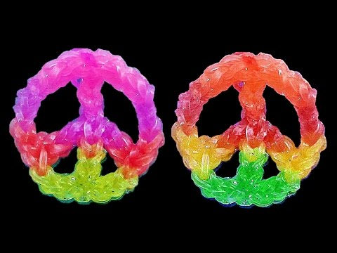 How to Make Loom Bands / Rainbow Loom Charms: PEACE SIGN