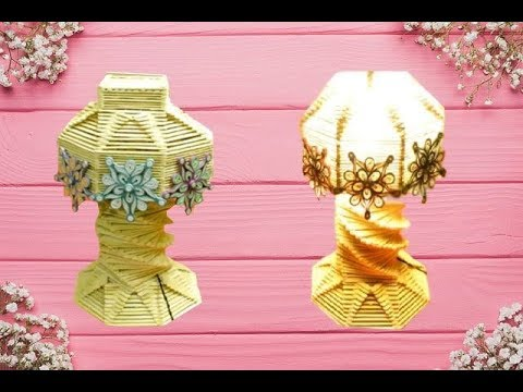 How to make Easily a Popsicle Stick Lamp    Lamp Shade    Table Lamp